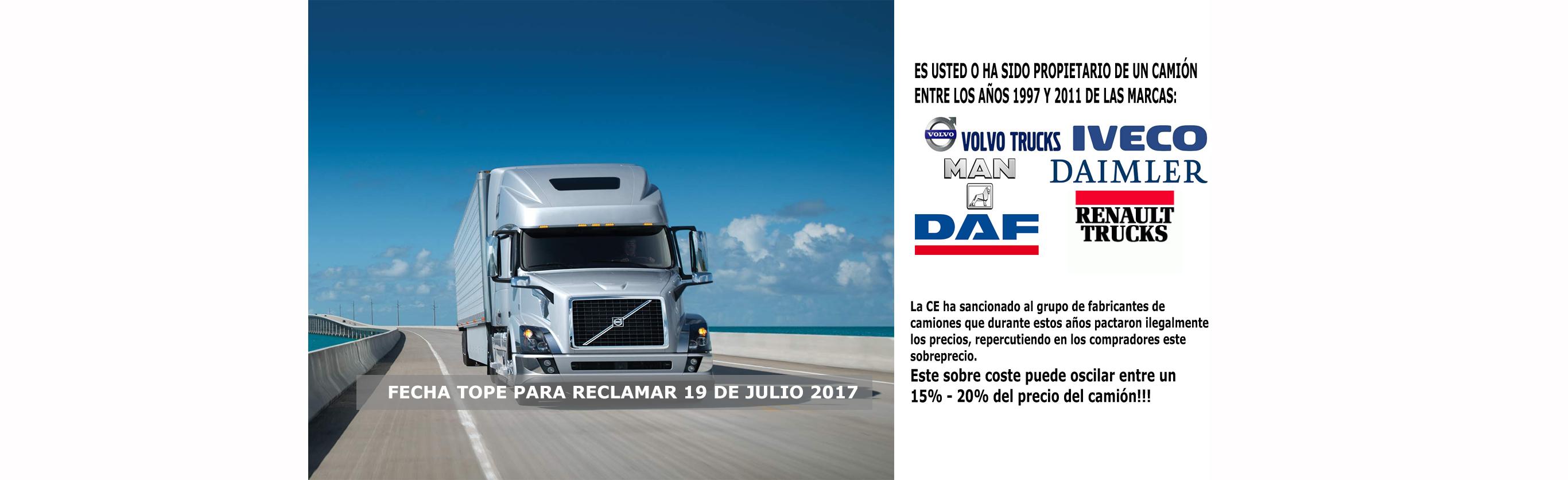 Reclamacion propietarios de camiones Volvo Iveco Daf Renault Daimler Man